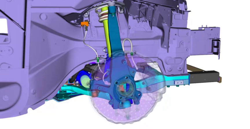 Sensorkabel und Bremsschlauch unter dynamischen Einflüssen im Fahrwerk
